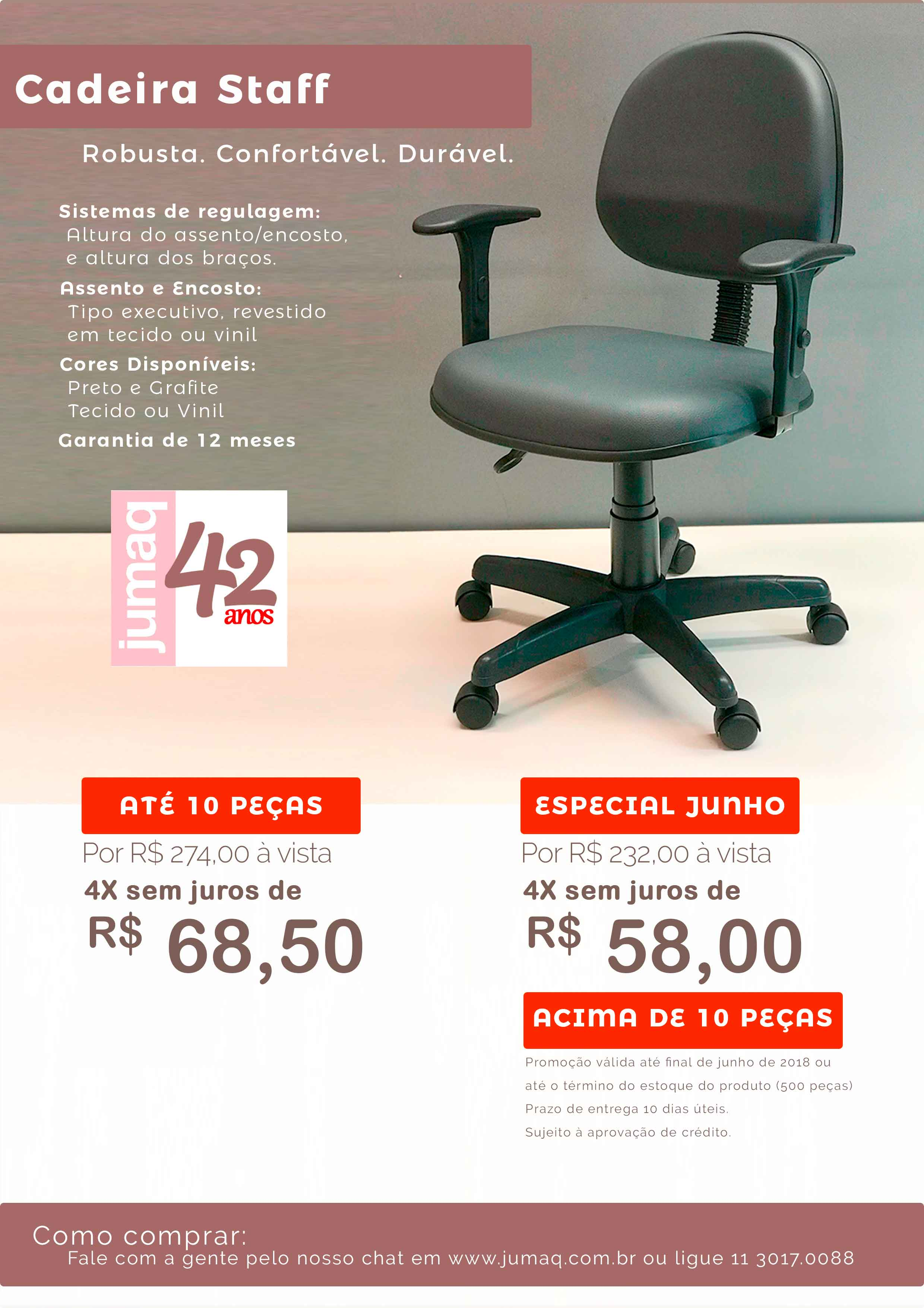 PROMOÇÃO cadeira staff JUNHO